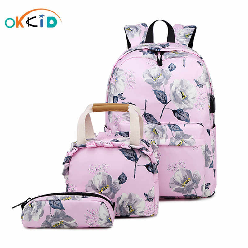 OKKID school bags for girls pink black flower backpack kids school bag set children floral printing school backpack child gift