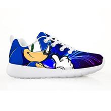 2019 אופנה ילדים של נעלי סניקרס לילדים בני ילדה די סוניק קיפוד ילדים מקרית דירות נשימת תחרה עד נעליים