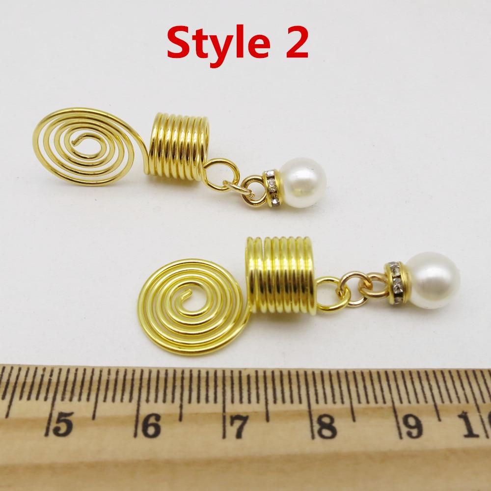 6Pcspack spiral wire wrapped hair braid dreadlock beads RLW2415