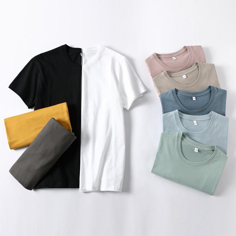 100% хлопковое нательное белье, Базовая рубашка, рубашка Однотонная футболка для женщин короткий рукав Футболка летние модные топы; Повседне...