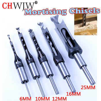 1pc HSS Square Hole Saw Mortise Chisel Wood Drill Bit with Twist Drill micro tips drill bit set image