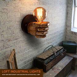 1 para lewej i prawej ręki retro kreatywny pięść żywica kinkiet Loft lampa w stylu industrialnym sushi restauracja/bar restauracja caf|Lampy ścienne|Lampy i oświetlenie -