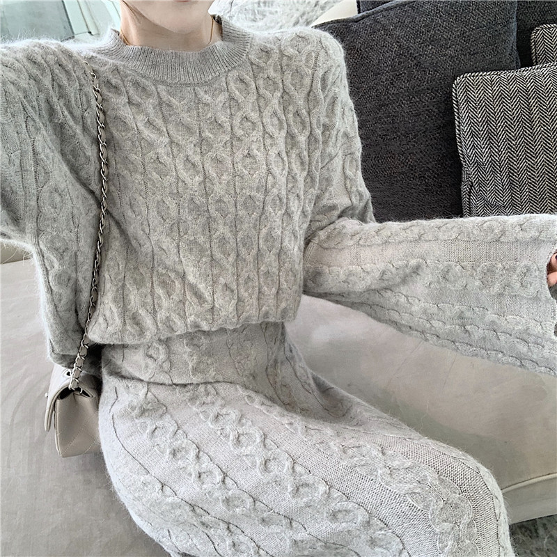 Ha4b9553b6798415c8527ddf0b968ccc7L - Autumn / Winter O-Neck Loose Grey Jumper and Knitted Maxi Skirt
