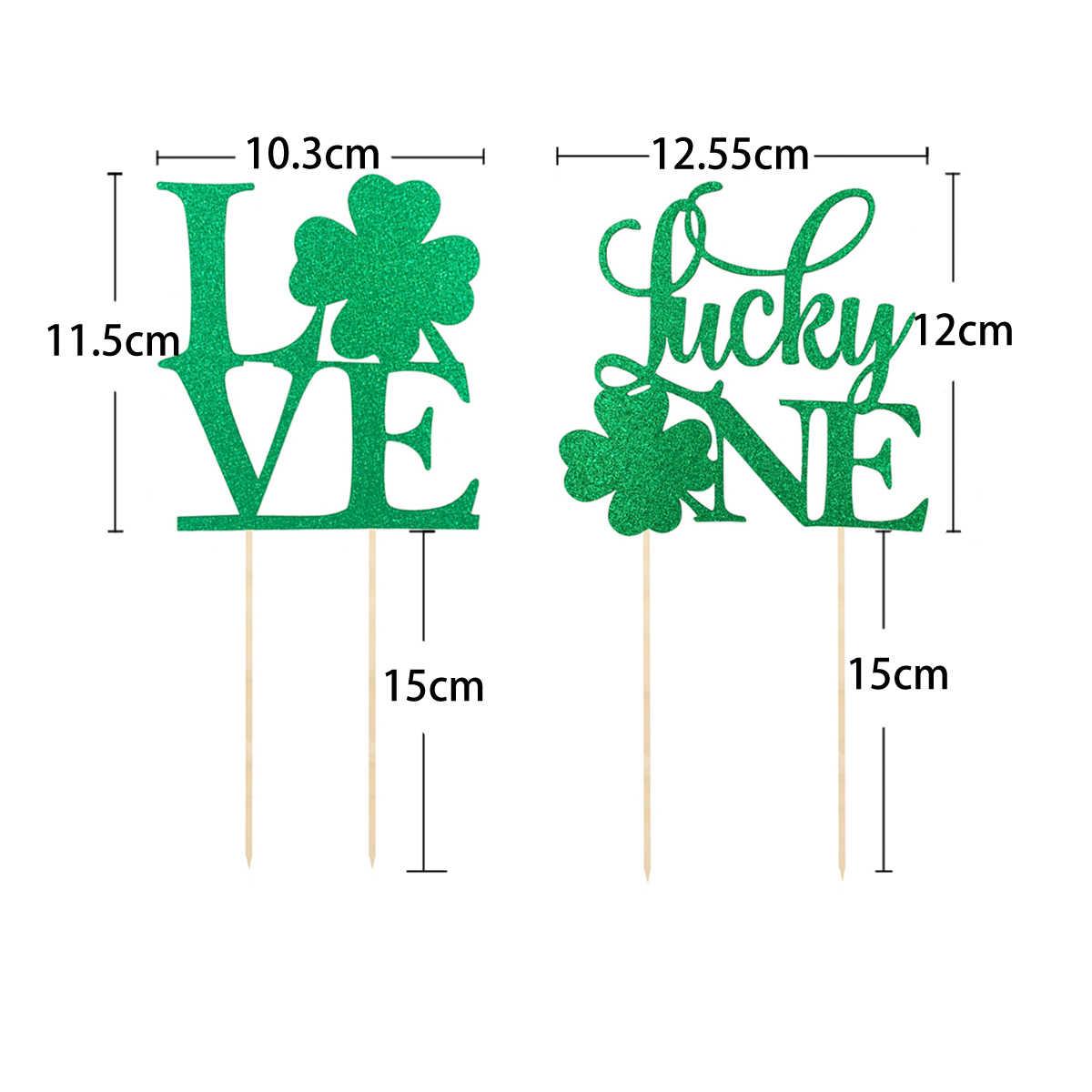 2 Pcs Shamrock Clover Kue Toppers Cupcake Picks Tongkat untuk Lulus St Patricks Hari Perlengkapan Pesta Dessert Table A30