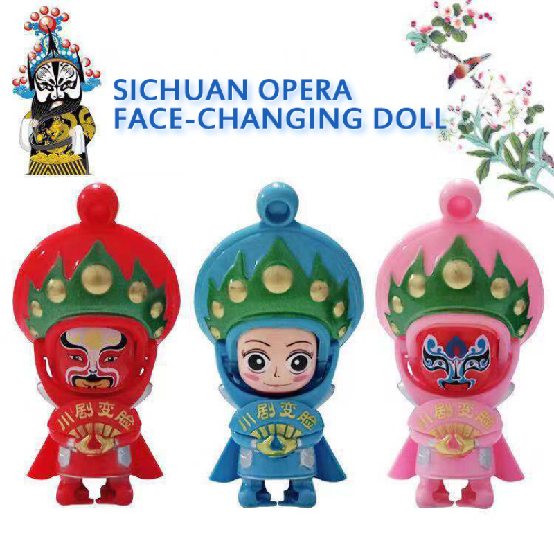 Change Face Peking Opera Dolls Traditional Chinese Folk Craftwork Sichuan Chinese Opera Doll Keychain Action Figure Toys Gift image