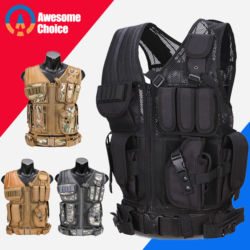 Model 045 Men Military Tactical Vest Paintball Camouflage Molle Hunting Vest Assault Shooting Hunting Plate Carrier With Holster