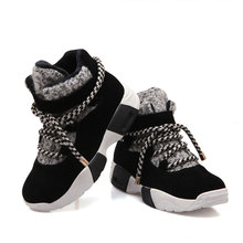 New Women's Genuine Leather Increase Platform Fashion Sneaker Casual Shoes Women  Plush Warm Snow Boots