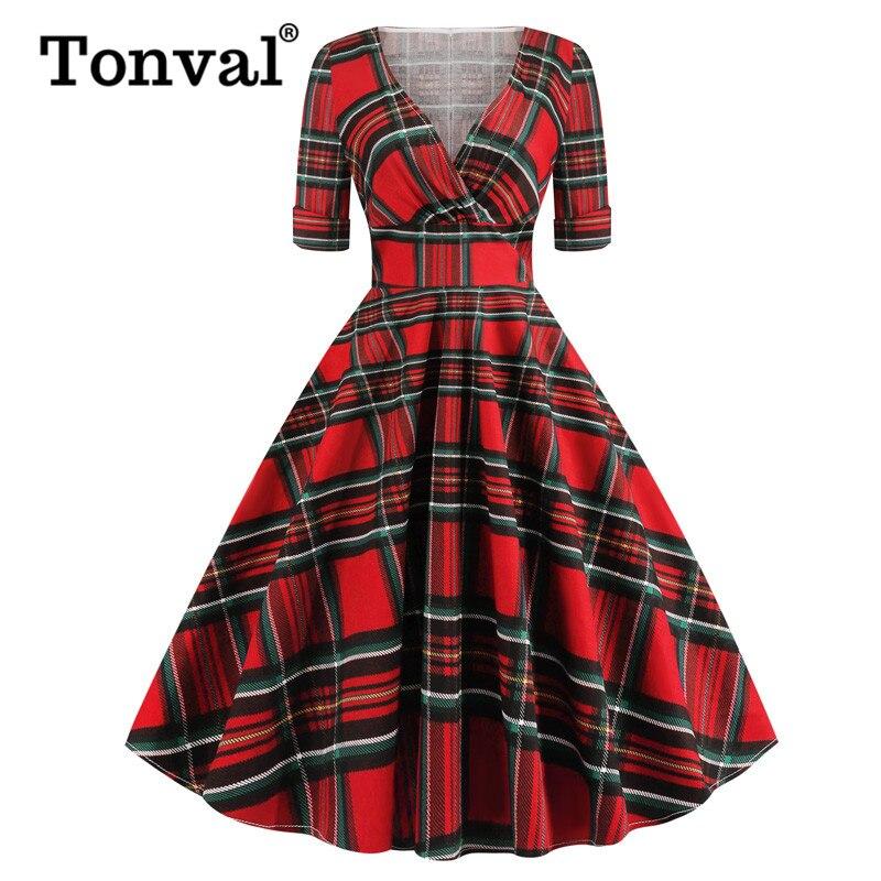 Tonval赤チェック柄ハイウエストラップタータンヴィ半袖秋女性のエレガントなパーティーセクシーなロカビリー綿ミディドレス