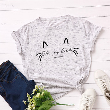 oversized loose casual cartoon print kawaii o neck print t shirt solid color t shirt women s short sleeve letter New Lovely Cat Letter Print T Shirt Women 100% Cotton O Neck Short Sleeve Summer T-Shirt Top Casual 2020 Plus Size Mujer S-5XL