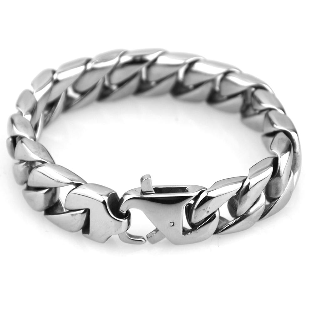 """7-10"""" 15MM Cool High Quality 316L Stainless Steel Silver/Gold Tone Cuban Curb Link Chain Men's Bracelet Bangle Biker Jewelry Hot"""