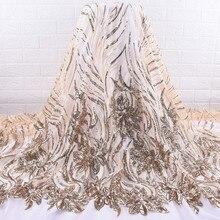 Altın afrika dantel kumaş işlemeli nijeryalı Sequins dantel kumaş yüksek kaliteli fransız tül dantel kumaş kadınlar için WeddingA1737