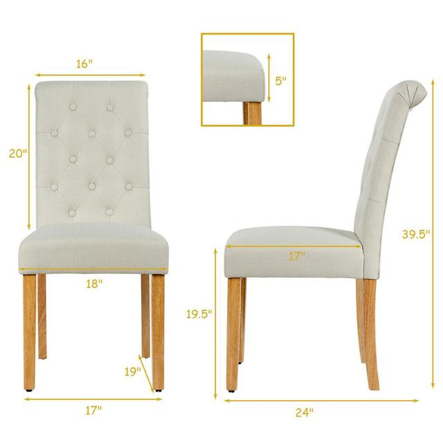 Set of 4 Tufted Dining Chair Parsons Upholstered Fabric Chair with Wooden Legs 2