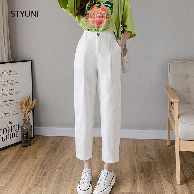 Korean women's pants 2020 new fashion casual nine-point pants women all-match suit pants loose harem pants high waist overalls