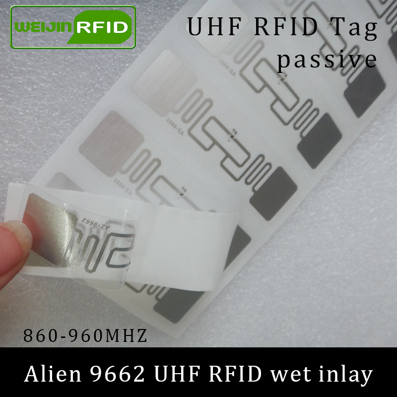 UHF RFID Tag Sticker Alien 9662 Wet Inlay 915mhz 900 868mhz 860-960MHZ Higgs3 EPCC1G2 6C Smart Adhesive Passive RFID Tags Label