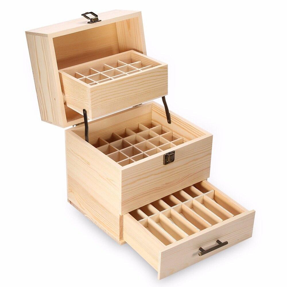 Boîte de rangement en bois 3 couches boîte de rangement organisateur de transport bouteilles d'huile essentielle conteneur d'aromathérapie serrure en métal bijoux trésorsu