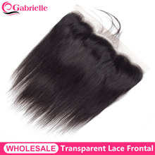 Wholesale Transparent Lace Frontal Brazilian Straight Human Hair 13x4 Lace Frontal Closure Free Part Remy Hair Gabrielle