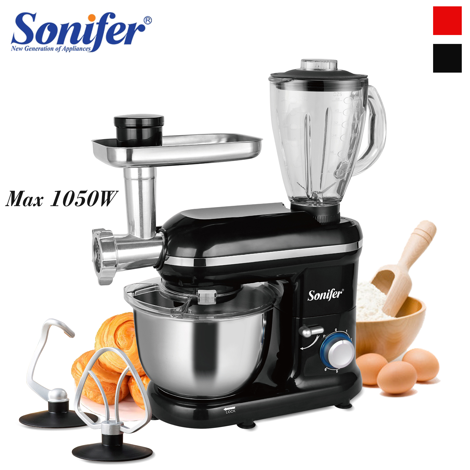 5.5L Kitchen Food Stand Mixer 6-Speed 3in1 Household Kitchen Meat Grinder Blender Juicer Cake Dough Bread Mixer Sonifer