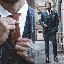 Клетчатый мужской костюм из 3 предметов, классический приталенный винтажный костюм, деловой пиджак, брюки, жилет, Свадебный Смокинг на заказ