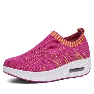 Image 3 - COWCOM קיץ נעלי נשים לטוס משטח אריגת לנשימה ספורט מזדמן Waddling נעלי כרית עוגת נעל אחת CYL 3902