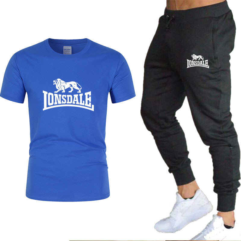 2020 Men's Sets T Shirts + Pants Two Pieces Sets Casual Tracksuit Male / Female New Fashion Print Suits Sportwear Fitness Pants