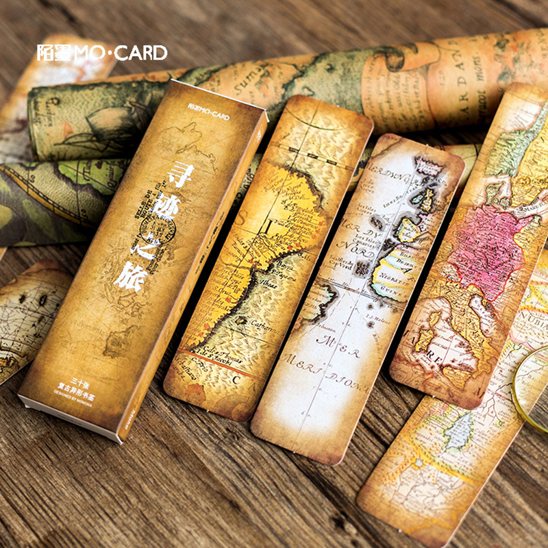 Journamm 30pcs/box Vintage Retro Style Clock Newspaper Map Bookmarks for Novelty Book Reading Maker Page Creative Paper Bookmark 2