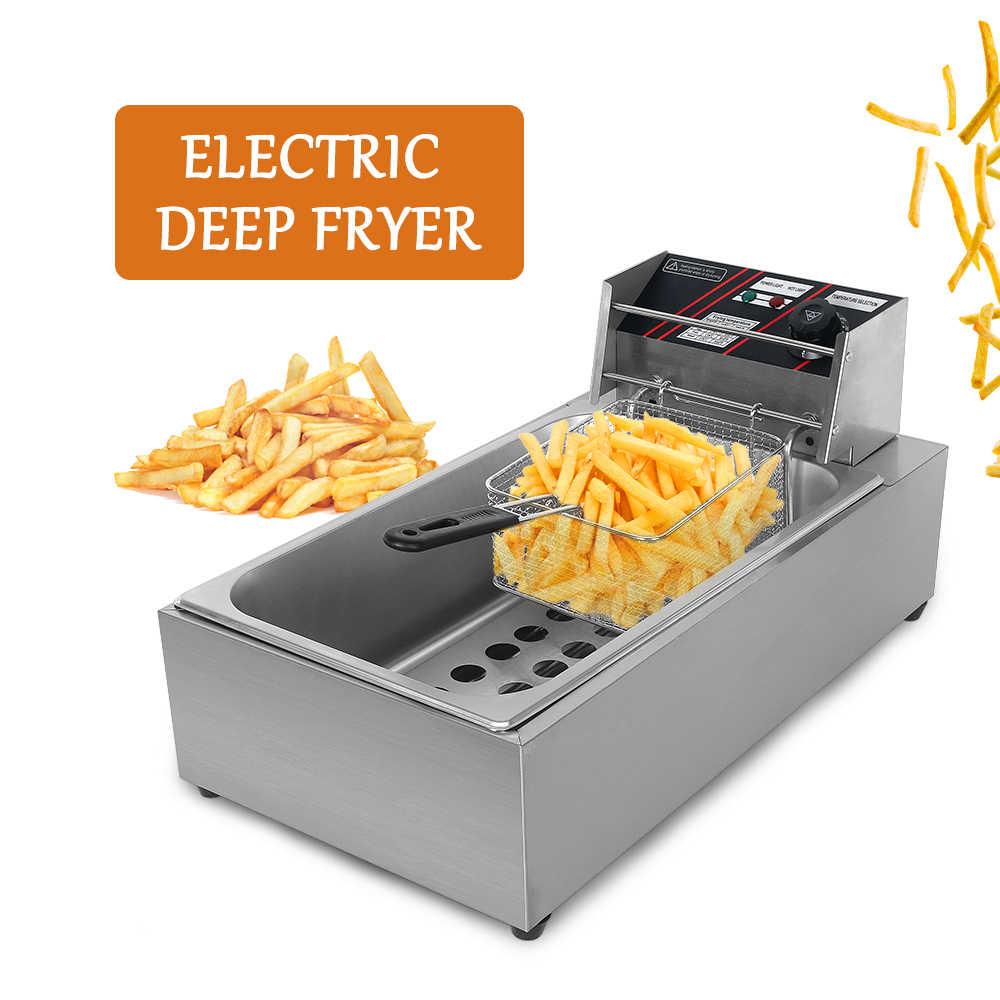 Freidora eléctrica de 3000W 12L patatas fritas freidora de alimentos de pollo freidora comercial de temperatura ajustable con cesta