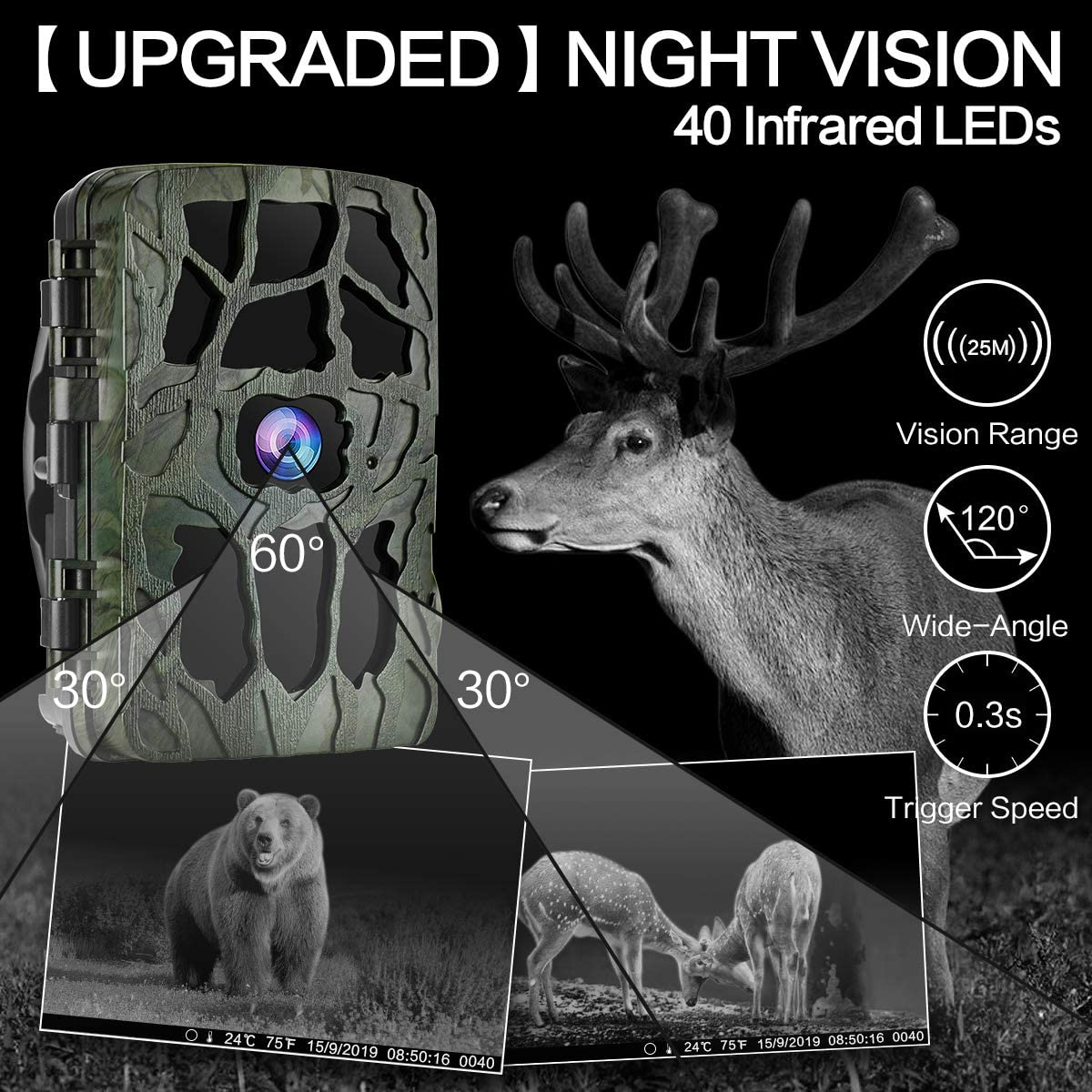 Wildlife Camera For Hunting Trail Camera, Waterproof 20MP 4K Game Camera Wildlife Scouting Hunting Camera For night vision