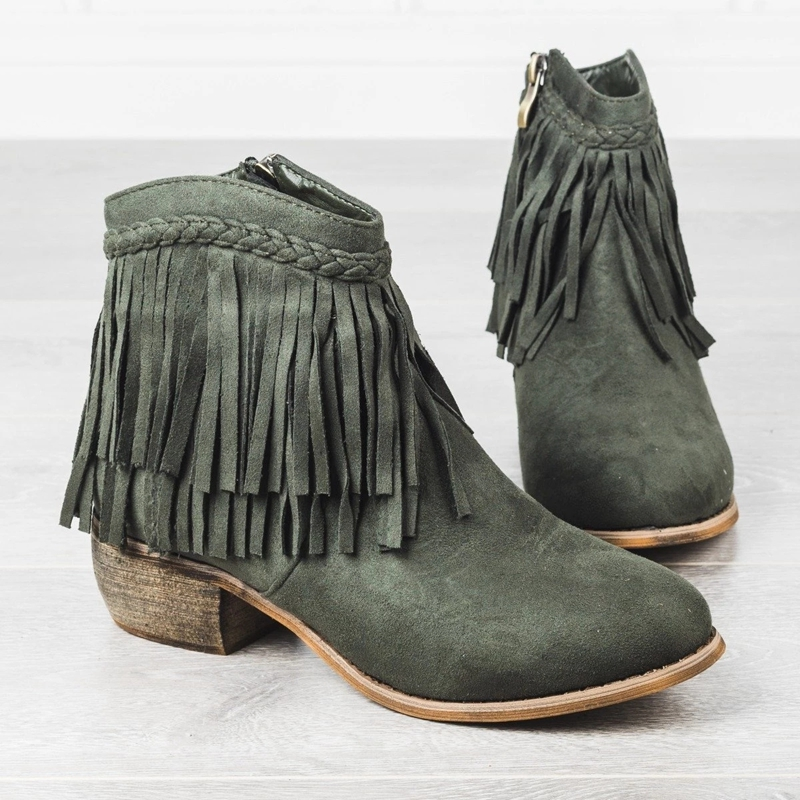 LOOZYKIT Shoes Ankle-Boots Fringe Casual Women Ladies Low-Heel Suede Zipper Retro Female