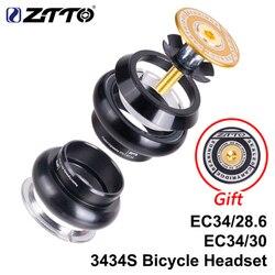 ZTTO MTB Road Bike Threadless Headset 34mm EC34 CNC 1 da coluna de direcção-1/8 28.6 Garfo Tubo Reto 34 threadless Headset 3434 S