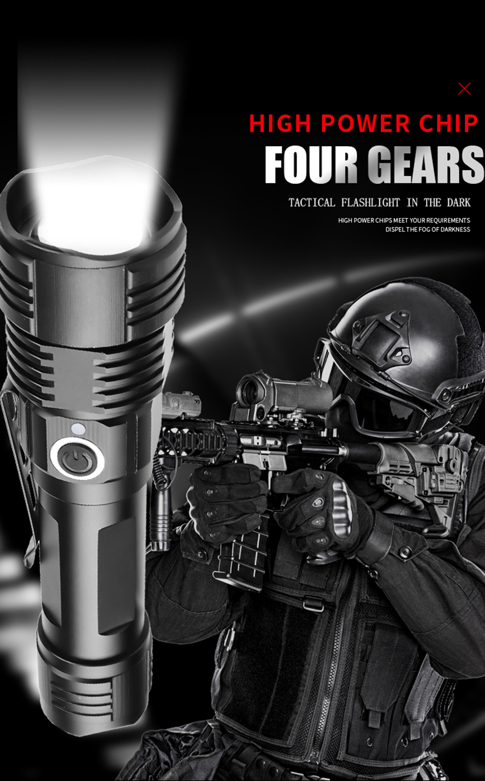 4 Colors in One Multi-functional Tactical Hunting LED Flashlight Power by 18650 / AAA Battery USB Rechargeable Torch Bulbs 10W