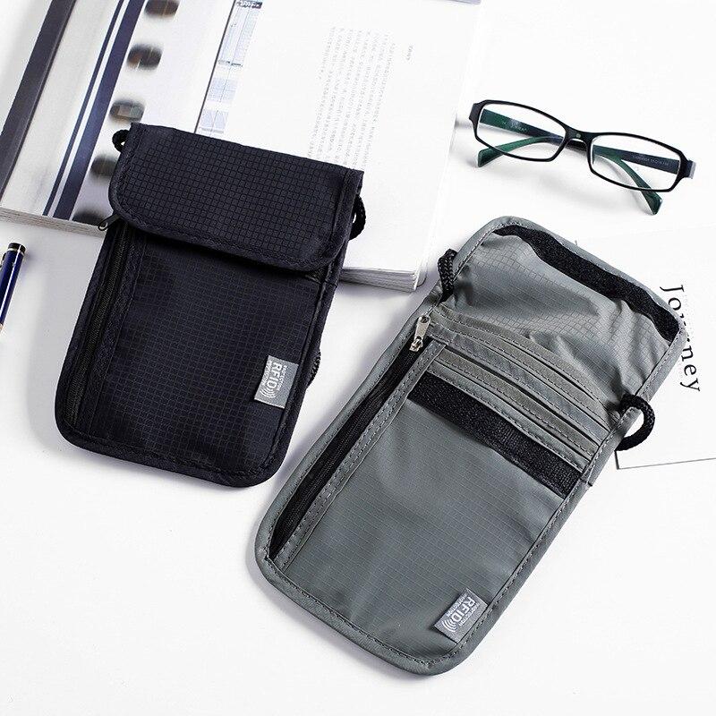 High Quality RFID Waterproof Nylon Travel Document Storage Bag Card Passport Bag Neck Wallet Money Document Card Passport Pouch