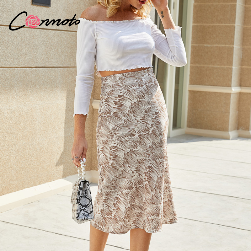 Conmoto High Fashion Beach Summer Skirts Women Midi Sexy High Waist Ladies Skirts Boho Straight Sexy Casual Feminino Skirt