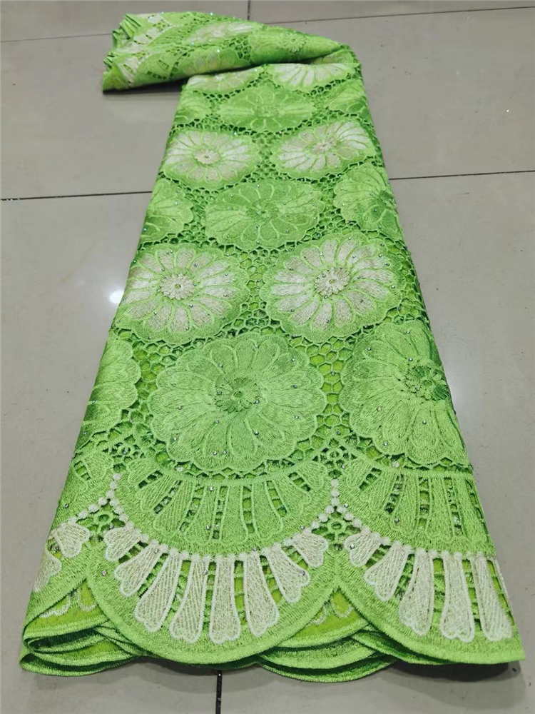 2021Skin Friendly Classic Grade Guipure Lace Soft Embroidery Elegant African Cord Lace Fabric For Wedding Dress NN925-s
