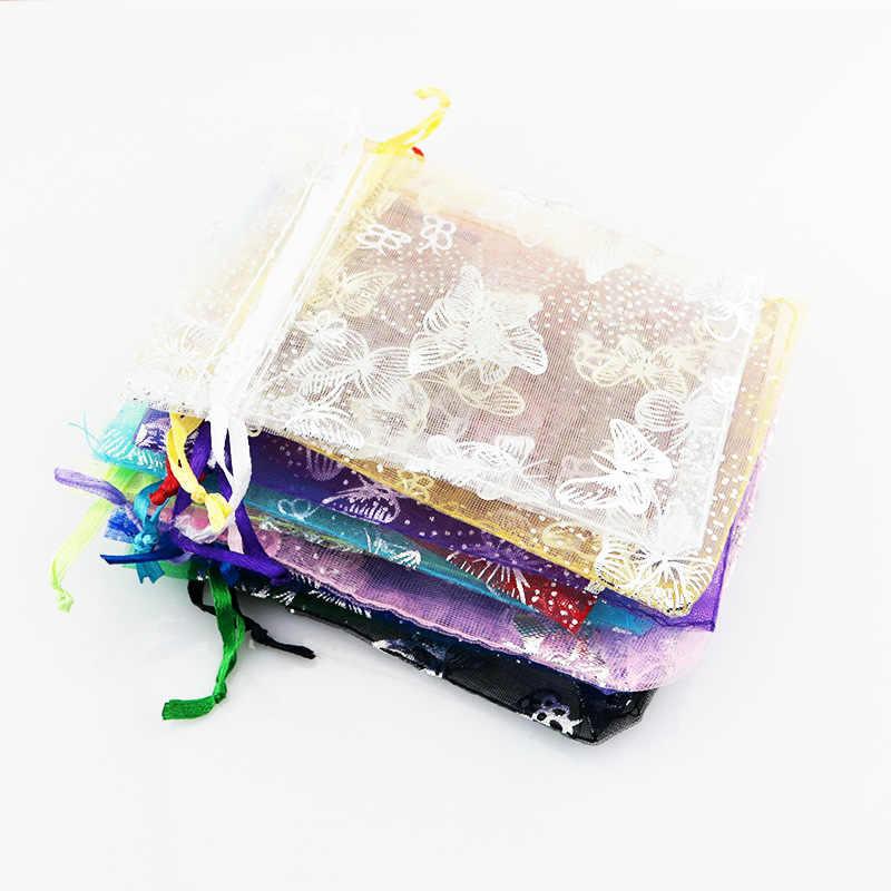 100 sztuk srebrny motyl torba z organzy Wedding Party cukierki torebki do pakowania biżuterii torby ze sznurkiem torba do przechowywania akcesoriów