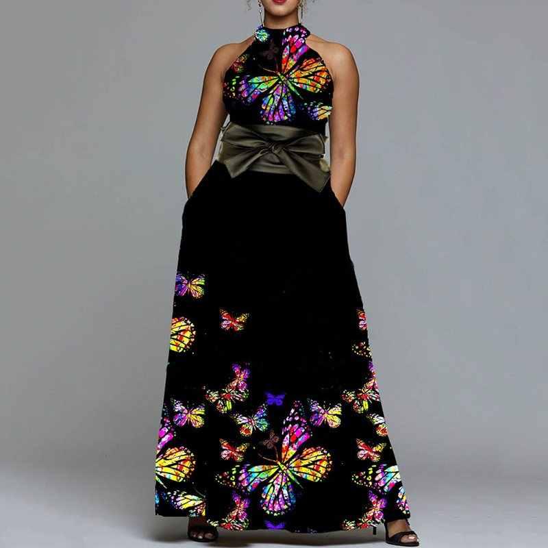 שרוולים באורך רצפת צווארון עומד סטנדרטי-מותניים בסוודרים שמלת וינטג Bowknot פרפר הדפסת מקסי שמלות חוף נופש