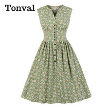 Tonval V-Neck Button Up High Waist Casual Summer Pleated Floral Dress 2020 Women