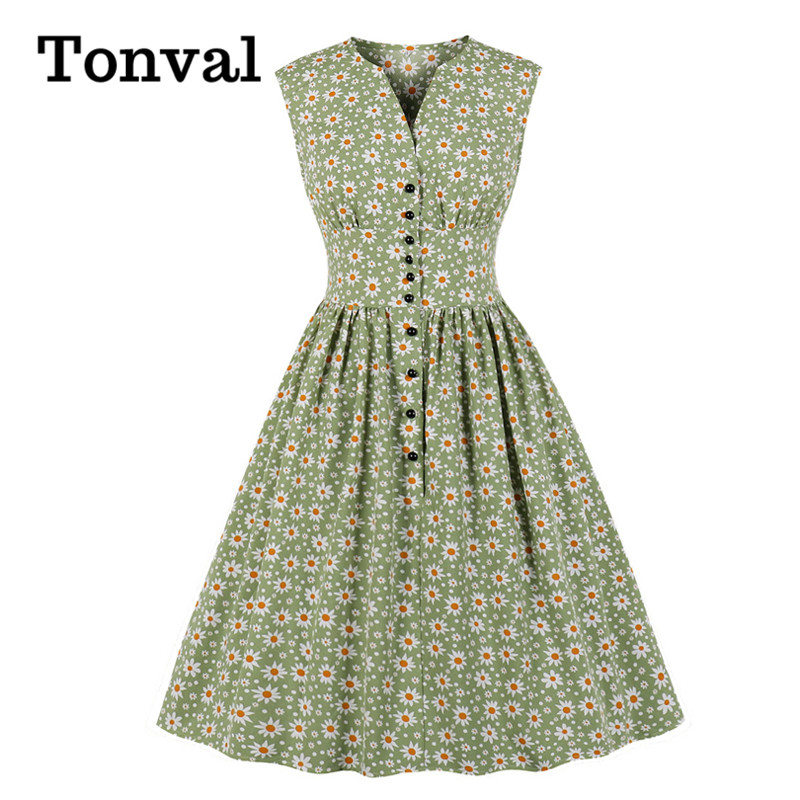 Viifaa V-Neck Button Up High Waist Casual Summer Pleated Floral Dress 2020 Women Sleeveless Fit And Flare Vintage Dress