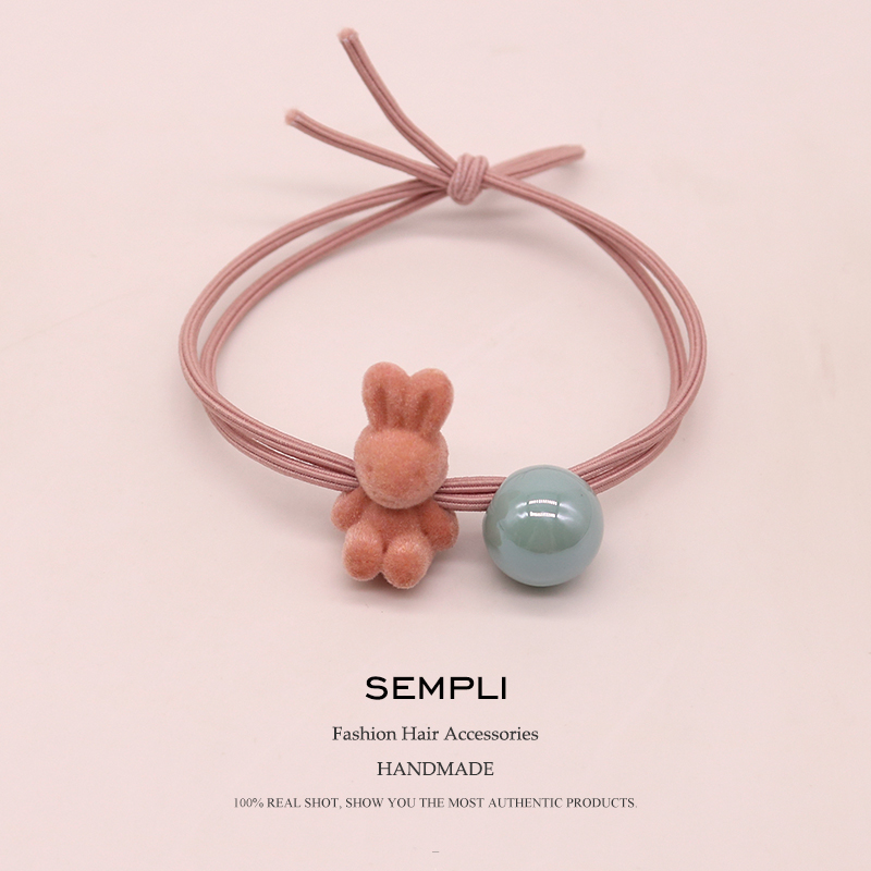 Sempli Pink Flocking Cloth Cute Rabbit Elastic Hair Bands For Girls High Quality Round Beads Rubber Bands Easter Gift Headwear
