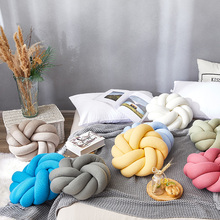 1pc Soft Pillow Knitted Type Solid Colors Blue 35cm Diameter Pillows Soft Plush Cushion for Chair Sofa Home Type Knot Pillows