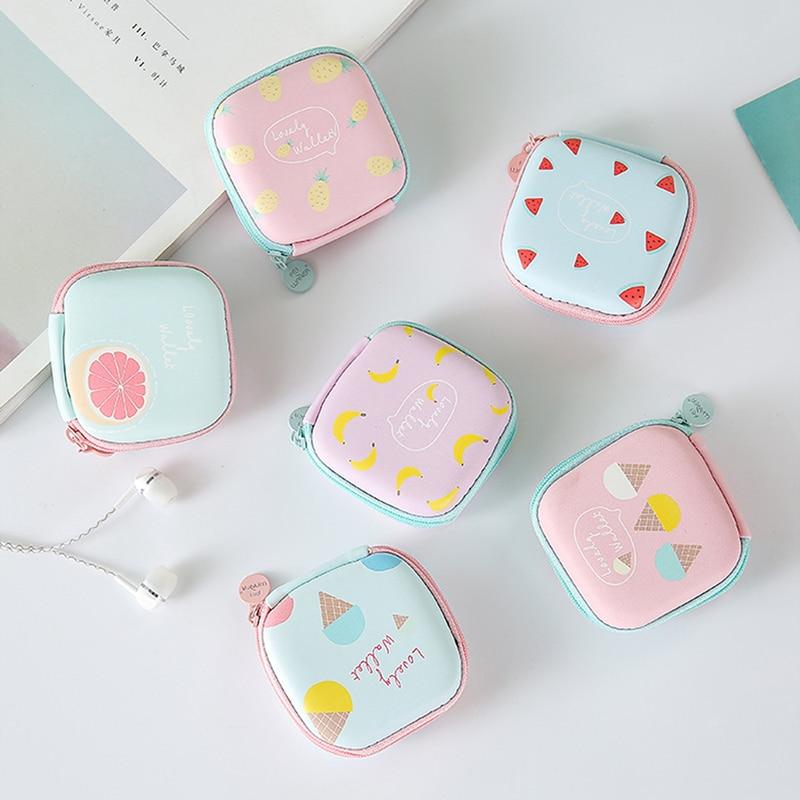 Cartoon Earphone Case Women Coin Purse Small Wallet Cute Kids Female Mini Zipper Coin Key Earphone Line Pouch Money Bags