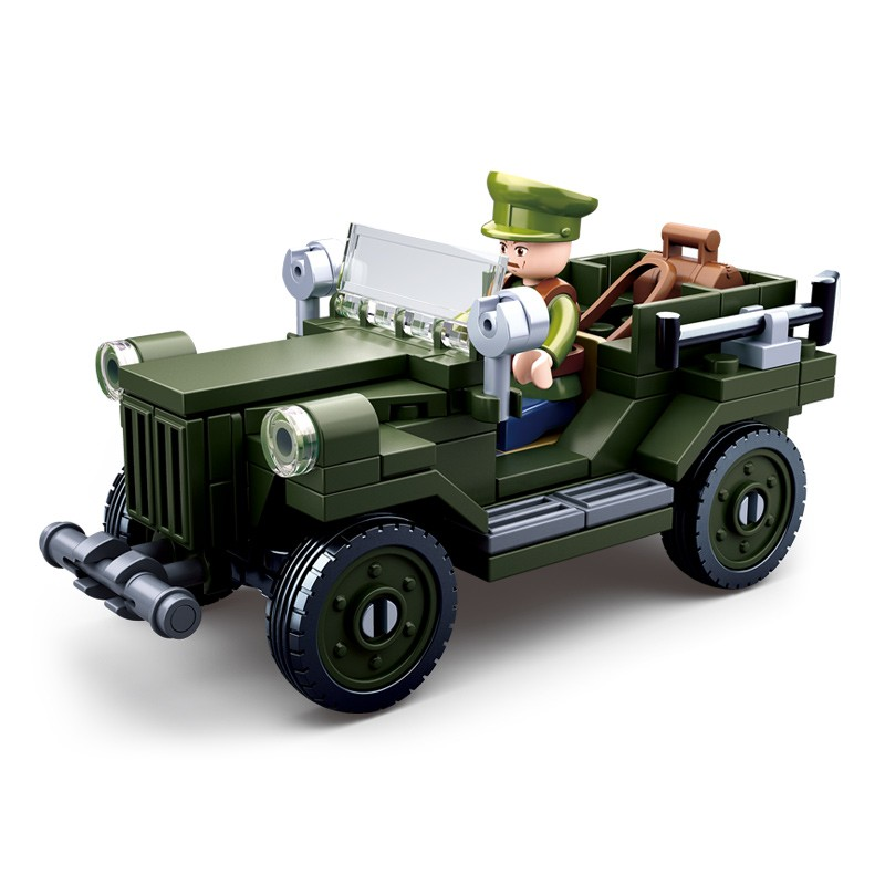 Sluban <font><b>0682</b></font> Military Tank world war ii German Army figures troops Building Blocks Bricks Helicopter Model Toys For Children image