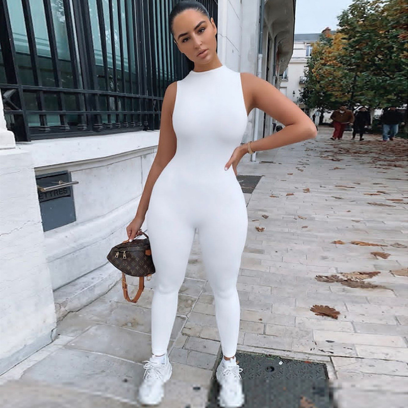 2020 Sleeveless Back Zipper Bodycon Jumpsuit Summer Women Fashion Stretchy Outfits Solid White Black Gray Body Romper
