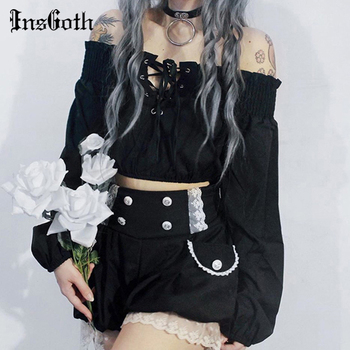 InsGoth Harajuku Off Shoulder Sexy Tops Women Gothic Streetwear Long Sleeve Bandage Hollow Out Crop Tops Autumn Female Tops tops