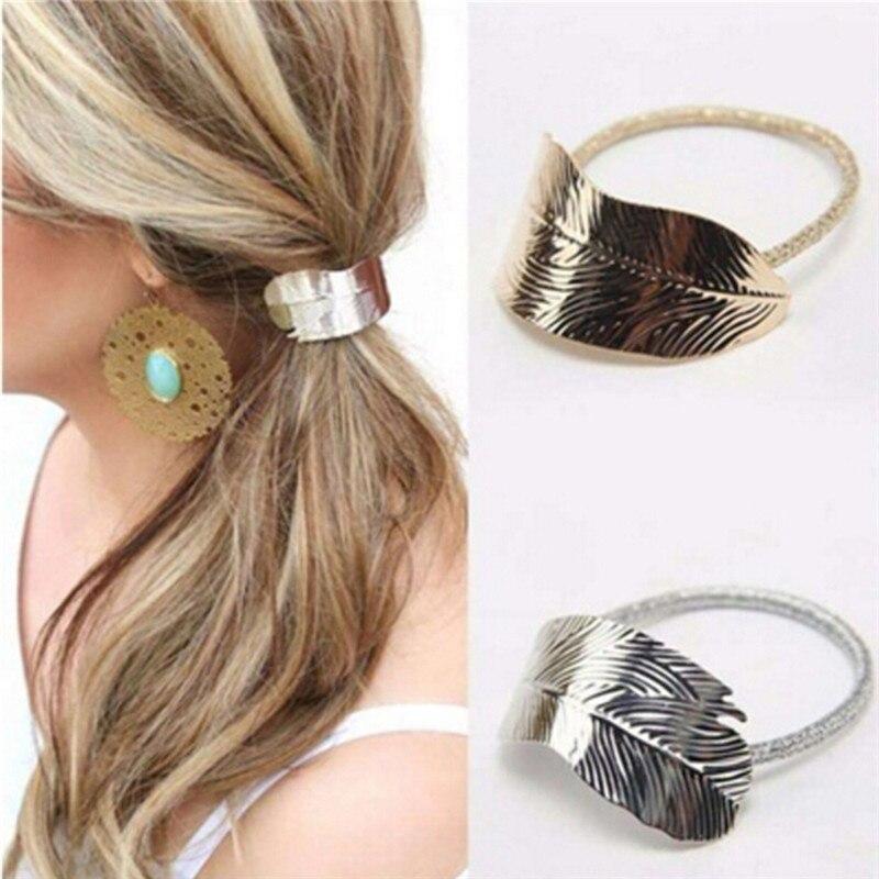 1pc Girls Women Elastic Rubber Shape Metallic Hair Rope Headdress Rope Women Hair Band Tree Leaf Hair Accessories