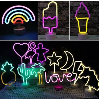 2020 Ins LED Neon Unicorn Night Light Creative Ice Cream USB Rainbow Night Light Double Sided Christmas LED Halloween Baby Gift