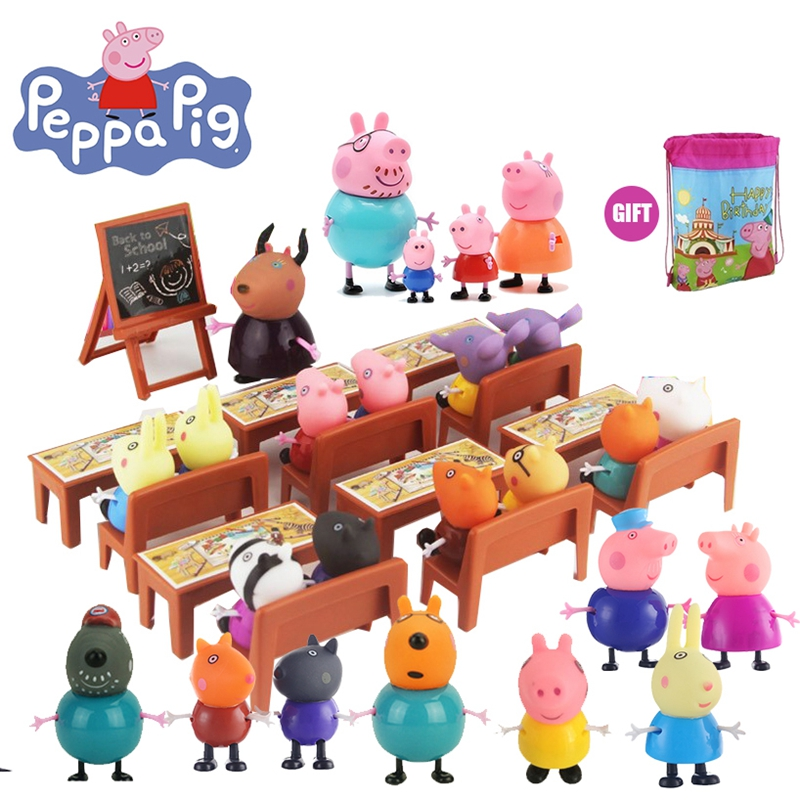 Peppa Pig Action Figure George Peppa Pig School Desk Set Peppa Pig's Family & Friends Set Piggy Teacher Model Dolls Children Toy