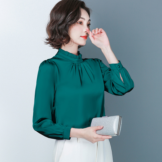 New Spring Long Sleeved Women's Shirts Satin Blouses Loose Office Work Wear Tops Ruffles Stand Collar Plus Size 4XL Green Shirts 3