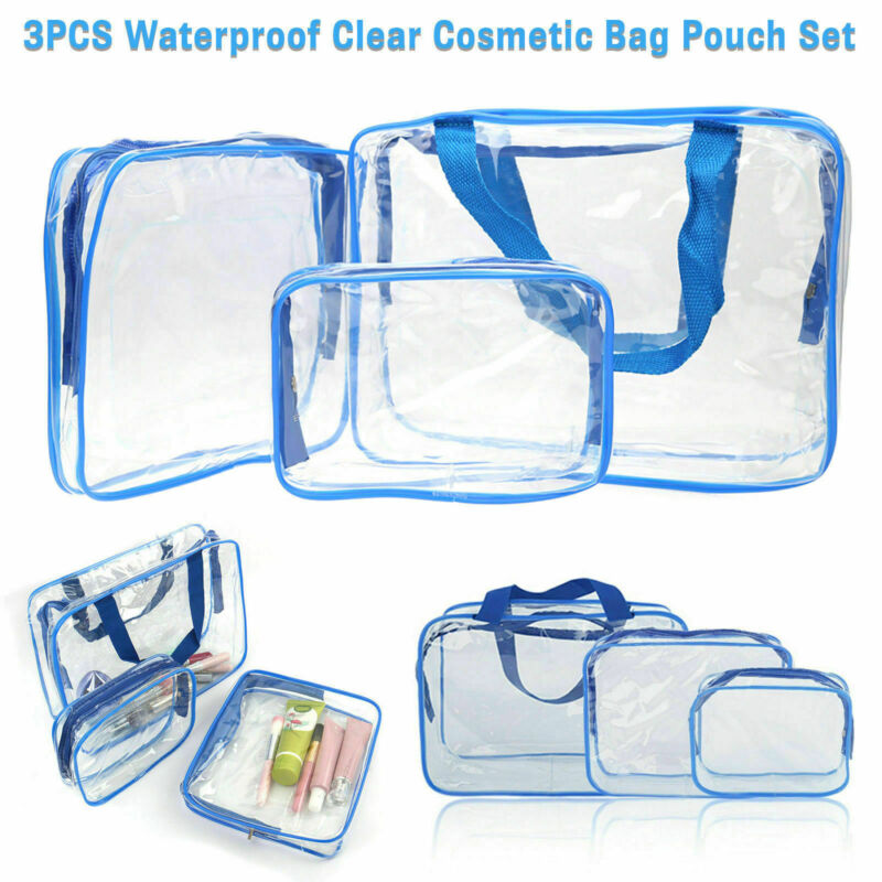 3Pc PVC Clear Cosmetic Makeup Toiletry Bag Case Travel Holder Pouch Wash Kit Set