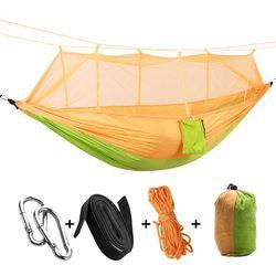 Przenośna tkanina na spadochron o wysokiej wytrzymałości hamak kempingowy wiszące łóżko z moskitierą hamak do spania na