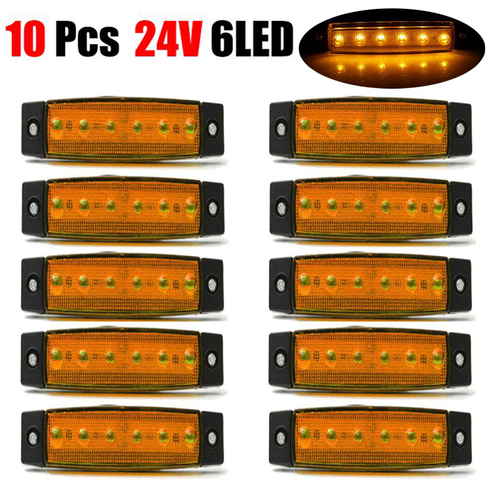 10x 24V 6SMD Truck Lights Led Marker Light Car Bus Truck Lorry Side Marker Indicator Trailer Light Rear Side Lamp External Light